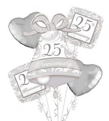 BALLOON BOUQUET KIT 25TH ANNIVERSARY SILVER SCROLL