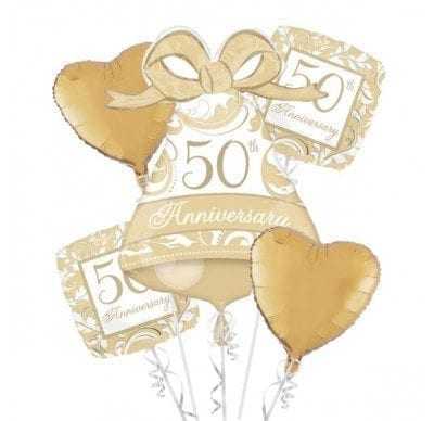 BALLOON BOUQUET KIT 50TH ANNIVERSARY GOLD SCROLL